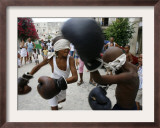 Two Cuban Boys Show Their Boxing Skills Framed Photographic Print