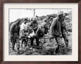 A U.S. Navy Corpsman Administers Blood Plasma to a Wounded Marine Framed Photographic Print