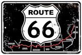 Route 66 Map Plechová cedule