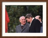 U.S. President Ronald Reagan, Right, Talks with Soviet Leader Mikhail Gorbachev Framed Photographic Print