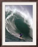 Big Wave Surfing, Waimea Bay, Hawaii Framed Photographic Print by Ronen Zilberman