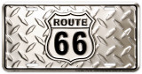 Route 66 Diamond Plate Plaque en métal