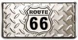 Route 66 Diamond Plate Plaque en métal