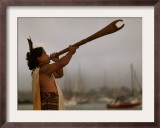 A Maori Warrior Calls Across Auckland Framed Photographic Print