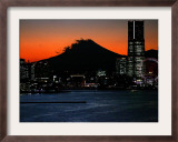 Yokohama City is Lit up Under Dusk at Sunset with the Backdrop of the Mount Fuji Framed Photographic Print