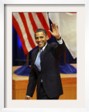 President Barack Obama Acknowledges to the Crowd after His Speech on Asian Policy in Tokyo, Japan Framed Photographic Print