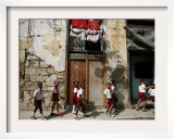 Cuban Students Walk Along a Street in Old Havana, Cuba, Monday, October 9, 2006 Framed Photographic Print by Javier Galeano