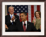 President Barack Obama Acknowledges Applause before His Address to a Joint Session of Congress Framed Photographic Print