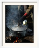 A Man, 24, from Ghana, Prepares His Meal Framed Photographic Print