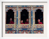 Buddhist Monks Look Through the Windows into the Courtyard of the Tango Monestary Near Thimphu Framed Photographic Print