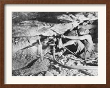 A South African Miner Drives a Drill into Veins of Gold Ore on the South African Rand Framed Photographic Print
