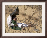 Iraqi Prisoner of War Confort His 4-Year-Old Son at a Regroupment Center for POWs Near Najaf Framed Photographic Print