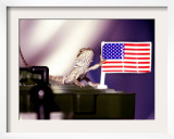 A Juvenile Bearded Dragon Places a Claw Upon an United States Flag Framed Photographic Print