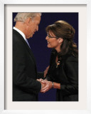 Senator Joe Biden and Governor Sarah Palin Shake Hands before the Start of Vice Presidential Debate Framed Photographic Print