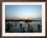 Hindu Devotees Bathe in the River Ganges on a Hindu Festival in Allahabad, India, January 14, 2007 Framed Photographic Print by Rajesh Kumar Singh