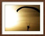 An Engine-Powered Paraglider Soars Through the Air Near Schlesen Framed Photographic Print