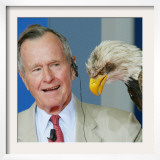 Former U.S President George Bush Looks at an Eagle During the Point Alpha Prize Awarding Ceremony Framed Photographic Print