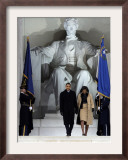 Barack Obama and His Wife Arrive at the Opening Inaugural Celebration at the Lincoln Memorial Framed Photographic Print