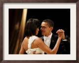 President Obama and First Lady Michelle Obama Dance at the Midwest Inaugural Ball, January 20, 2009 Framed Photographic Print
