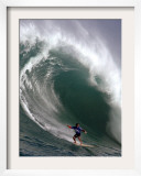 Big Wave Surfing, Waimea Bay, Hawaii Framed Photographic Print by Ronen Zilberman