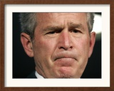 President Bush Listens to a Question About His Declassifying an Intelligence Report Framed Photographic Print