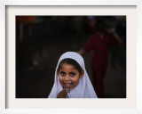 Pakistani Girl Waits for Her Mother to Get Rice During a Donated Food Distribution at the Beri Iman Framed Photographic Print