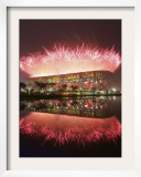 Fireworks Explods over National Stadium During the Opening Ceremony of Beijing 2008 Olympics Framed Photographic Print