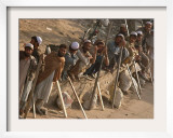 A Group of Afghan Construction Daily Workers Wait to be Hired Framed Photographic Print