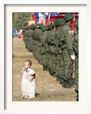 A Young Karen Child Seems Lost in a Karen Army Formation Framed Photographic Print