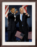 President-Elect Barack Obama and VP Joe Biden after Acceptance Speech, Nov 4, 2008 Framed Photographic Print