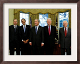 President-elect Barack Obama with All Living Presidents Smiling, January 7, 2009 Framed Photographic Print