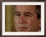 Tears Run Down President Bush's Face, Taking Part in a Medal of Honor Ceremony in the White House Framed Photographic Print