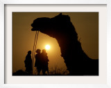 A Camel Stands as Villagers Walk at Sunrise at the Annual Cattle Fair in Pushkar, November 3, 2006 Framed Photographic Print by Rajesh Kumar Singh