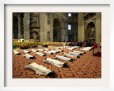 34 Deacons of the Rome Diocese Lay Before Pope John Paul II Framed Photographic Print