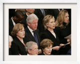 Former President Clinton Sings at a State Funeral Service for Former President Gerald Ford Framed Photographic Print by Ron Edmonds