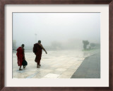 Buddhist Monks Walk Along a Road to Kyeik-Hti-Yoe Pagoda in Kyeikhto Framed Photographic Print