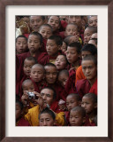 Buddhist Monks Watch a Show During a Public Meeting Addressed by the Dalai Lama Framed Photographic Print