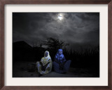 Halima Aden, Left, and Rhadija Aden, Sit Next to their Home in Garissa, Eastern Kenya Framed Photographic Print