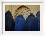 Afghan Women Wearing Burqas Wait to Get Their Voter Identity Cards Framed Photographic Print