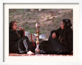 Two Unidentified Iranian Women Smoke a Water Pipe Framed Photographic Print