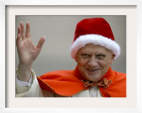 Pope Benedict XVI Waves to Pilgrims Upon His Arrival in St. Peter's Square at the Vatican Framed Photographic Print
