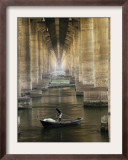 Fisherman Casts His Net in the River Ganges on the Outskirts of Allahabad, India Framed Photographic Print