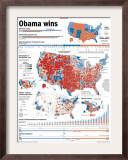 Obama Victory, Presidential Election 2008 Results by State and County Framed Photographic Print
