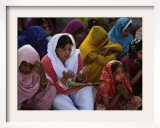 Christians Pray During a Ceremony to Celebrate Orthodox Palm Sunday, Outside a Church in Pakistan Framed Photographic Print