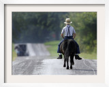 With a Buggy Approaching in the Distance, an Amish Boy Heads Down a Country Road on His Pony Framed Photographic Print by Amy Sancetta