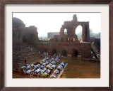 Muslims Offer Eid Prayers at the Ruins of Jami Mosque, Which was Built in 1345 AD Framed Photographic Print by Manish Swarup
