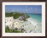 Tourists Enjoy the Beach Near the Mayan Ruins of Noh Hoch Framed Photographic Print by Israel Leal
