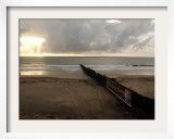 Man Jogs by the Beach Towards the Wall Dividing Mexico and the U.S. in Tijuana, Mexico Framed Photographic Print