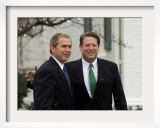 President-Elect Bush Meets with Vice President Gore at Gore's Official Residence in Washington Framed Photographic Print