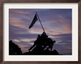 US Marine Corps Memorial is Silhouetted Against the Early Morning Sky in Arlington, Virginia Framed Photographic Print
